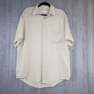 Perry Ellis 100% Silk Short Sleeve Button Down Top